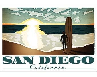 San Diego, California Longboard Poster