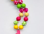 girls ice cream chunky bead necklace girl ice cream cone bubblegum necklace chunky bubblegum bead necklace yellow pink necklace summer