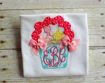 girls summer sandpail sandbucket shirt toddler girl monogrammed clothing initials shirt aqua hot pink summer beach shirt
