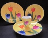 Four (4) Hand Painted Breakfast Set, Beautiful Floral Design