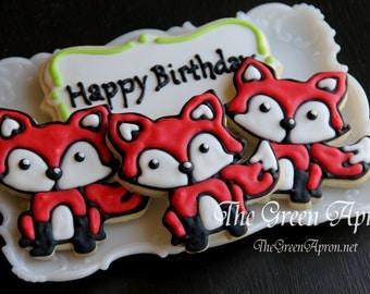 12 Fox Decorated Sugar Cookies