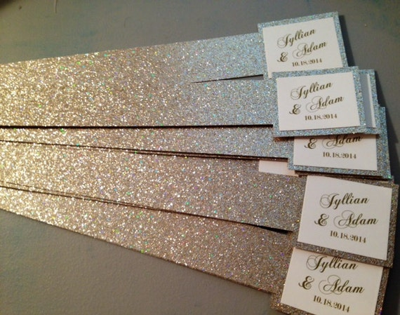 glitter belly bands for wedding invitations with name tag, Wedding invitations