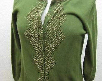 Olive Green Hipster Beaded Knit Cotton Babydoll Sweater (Small)
