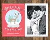 Merry Everything Snowglobe Christmas Card - DIY Printable