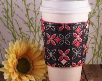 Fabric Coffee Cozy / Sparkles on Gray Coffee Cozy / Gray Coffee Cozy / Coffee Cozy / Tea Cozy