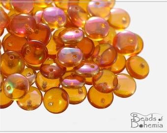 Crystal Apricot Medium Czech Lentil Beads 8 mm, 30 pcs (8302)