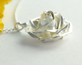 Large Silver Rose Pendant – Flower Necklace on Sterling Silver Chain – Wife Gift – Fine Jewellery