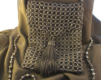 Black Beaded Over the Shoulder Evening Bag with Zipper
