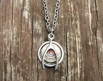 Silver Lucky Shot Necklace- Bullet Necklace- Bullet Jewelry- Birthstone Necklace- Bullet Pendant- Ammo Casing- Gun Jewelry- Wishbone Charm