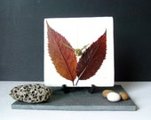 Unique Real Leaves Desk Clock Small Wall Clock - Decoupage Mulberry Paper and Dry Dried Pressed Cherry Leaves - Red Brown Botanical Clock