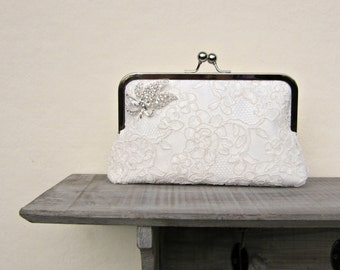 Ivory lace bridal clutch bag, rhinestone wedding clutch, lace clutch, off white clutch, bridesmaids clutch, clutch purse, custom, uk clutch