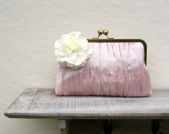 Pink clutch, pink bridal clutch bag, pink wedding clutch, pleated clutch, bridesmaid clutch, bridesmaid gift, uk, shabby chic clutch