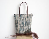 Linen and suede tote bag, Fall bag, Green mountain design