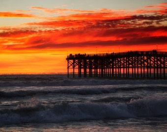Beach Photography, Beach Wall Art, Sunset Photograph, Beach Print, San Diego Photograph, Living Room Art, Large Wall Art, Ocean Print