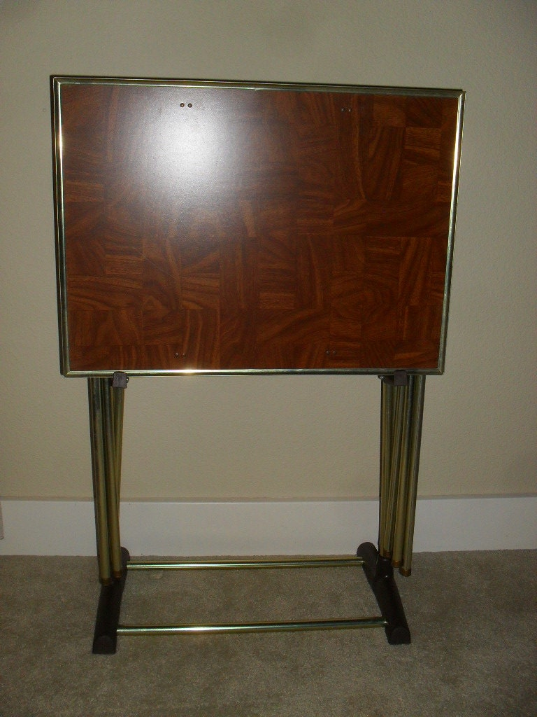 Vintage Set Of 3 Folding TV Tray Tables With By