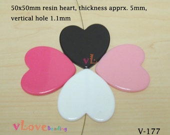 Big resin heart bead, 50mm x 4 pcs (V-177)