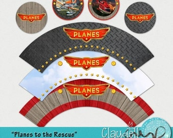 Planes to the Rescue Inspired Printable Cupcake Wrapper and Topper - 300 DPI