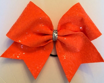 Cheer Bow - Orange Sequin