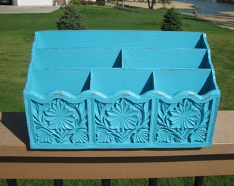 Upcycled LERNER faux wood desk organizer-  SEAFOAM Blue -mail holder- wood grain plastic -shabby chic office - dorm room