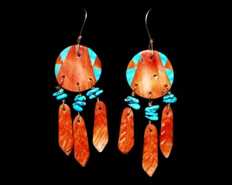 Native American Orange Spiny Oyster Turquoise Handmade Dangle Earrings Hand Carved Laminated