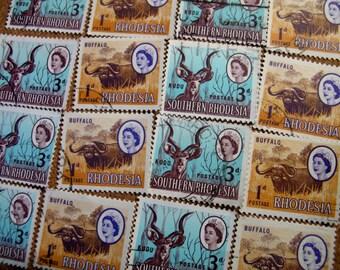 16 RHODESIA Africa Stamps - Vintage Postage Stamp  Buffalo & Kudu Queen Elizabeth