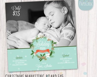 Holiday Mini Sessions - Christmas Photography Marketing - Photoshop template - IC011 - INSTANT DOWNLOAD