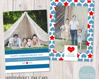Independence Day Card - 4th July - Photoshop template - AP001- INSTANT DOWNLOAD