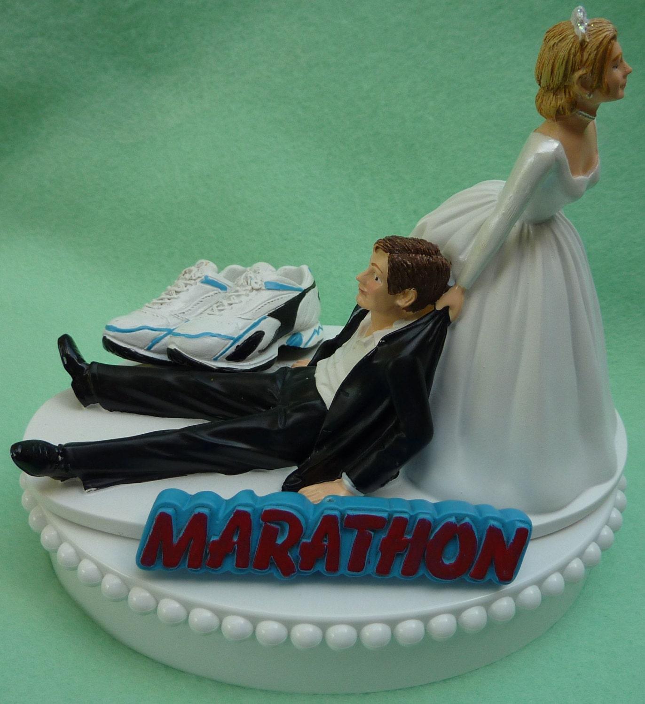 Wedding Cake Topper Marathon Runner Running Enthusiast Athlete
