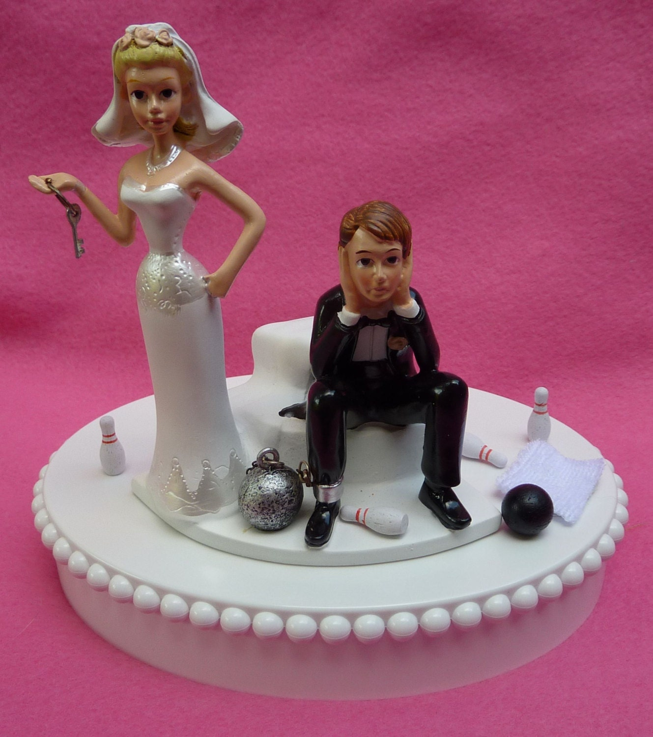 Wedding Cakes Toppers: Wedding Cake Topper Bowling Groom Ball And Chain Key Themed W/