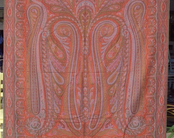 Paisley Shawl, Antique 1800's Victorian, Swirls of many colors