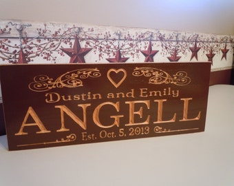 Wedding Gift Personalized Carved Wooden Anniversary Engagement Established Date Housewarming Sign Last Name Engraved Plaque Red Oak 51