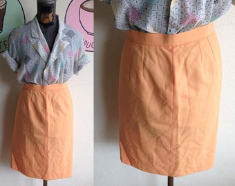 Vintage 80s Sweet Pastel orange old rose High waist Pencil skirt sale 10 usd S M