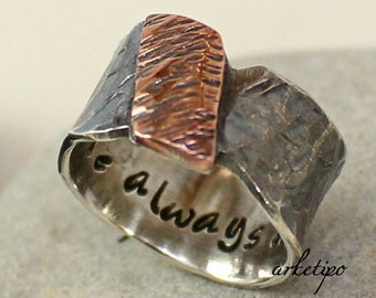 Personalized Sterling Silver Ring.. Men's / Women's Band.. Wedding Band..  Hammered sterling silver and copper Ring.. Custom Ring..