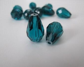 15mm Drop Glass Beads, Teal Tear Drop Beads, 10 pcs Glass Tear Drop Beads