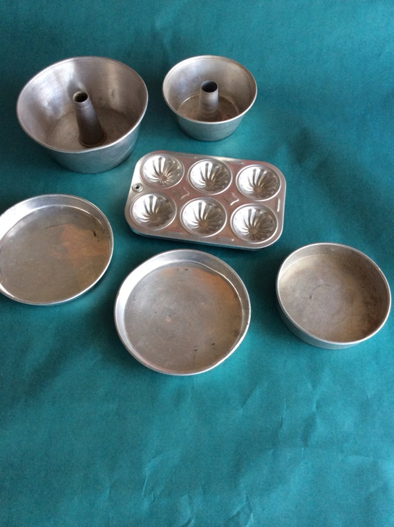 Vintage Tin Toy Bakeware Play Dishes