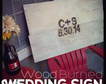 Customized Wood-burned Wedding Sign