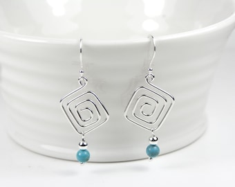 Sterling Silver Natural AA Grade Turquoise Gemstone and Greek Key Design Earrings, Ear Wires or Ear Posts, Valentines