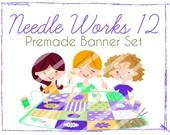 """Premade Shop Banner Set - Premade Etsy Banner Set - Etsy Shop Banner - Avatar - Facebook - """"Needle Works 12"""" Banner Set"""