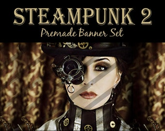 """Banner Set - Shop banner set - Premade Banner Set - Graphic Banners - Facebook Cover - Avatars - Bisiness Card - """" Steampunk 2"""""""