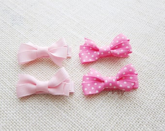 Set of 4 - Pink or Blue Polka Dots Baby Hair Clips - Toddler Hair Bows - Fully Lined Alligator Clips