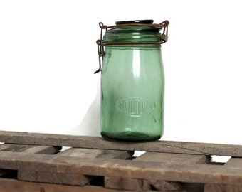 French SOLIDEX canning jar / Mason style from France for preserves / green glass decor / 1 liter