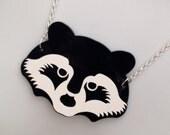 Laser cut perspex 'Raccoon' necklace