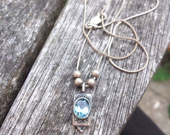 Vintage Sterling silver blue topaz pendant and chain