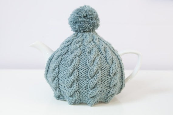 Hand Knitted Tea Cosy Patterns : Blue hand knitted cable tea cosy / tea cozy with by SweetMaya