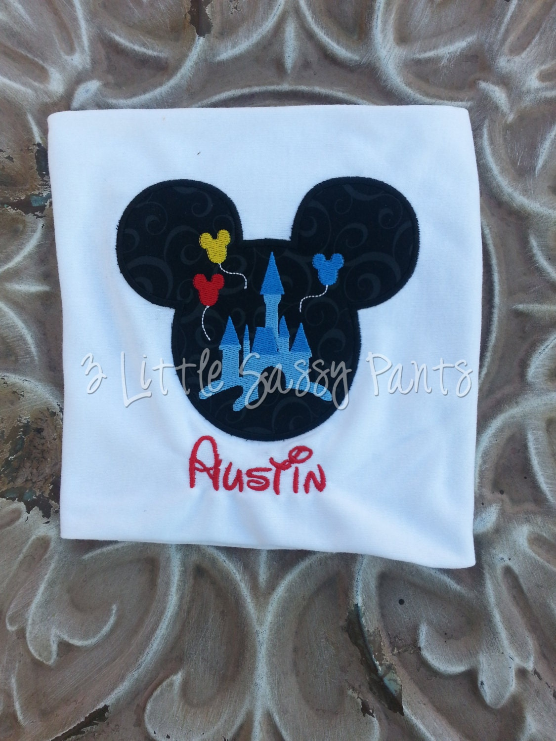 Mickey Mouse Castle Embroidered Shirt Mickey Mouse Birthday