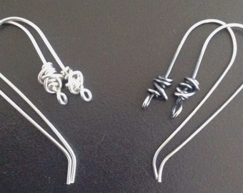 TANGLED 925 Sterling Silver ear wires 0.9mm. 2 pairs