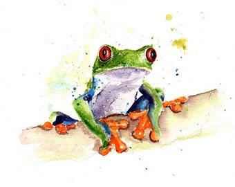 FROG ART PRINT - watercolor frog painting, red eyed tree frog, frog print, frog decor, frog art, frog gift, frog lover, amphibian art