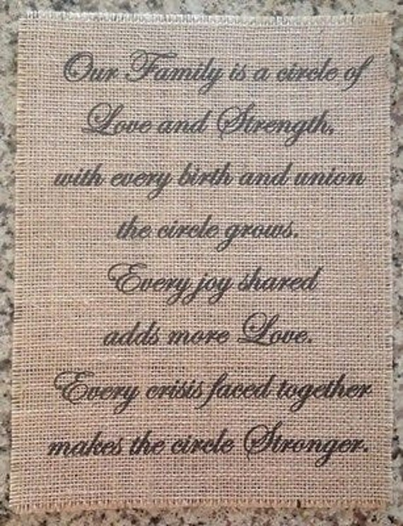 Primitive Burlap Panel Appliqué Sign Family Circle Of Love Strength Inspirational Wedding Gift