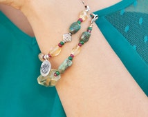 Lakshmi Bracelet- with Turquoise, Citrine, Emerald, Ruby and Silver Lotus Pendant- Gemstone Jewelry- (Blissfully Radiant Collection)