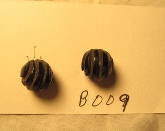 antique buttons, black glass ball, incised